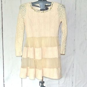 La Chapelle Dress Cream M Lace Embellished